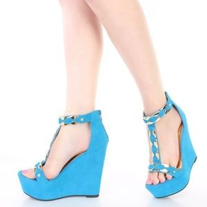 Shoes - Teal High Polish Accent T Strap Wedges Faux Suede